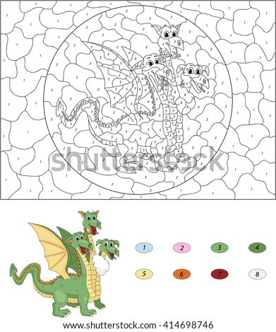 cartoon three headed dragon