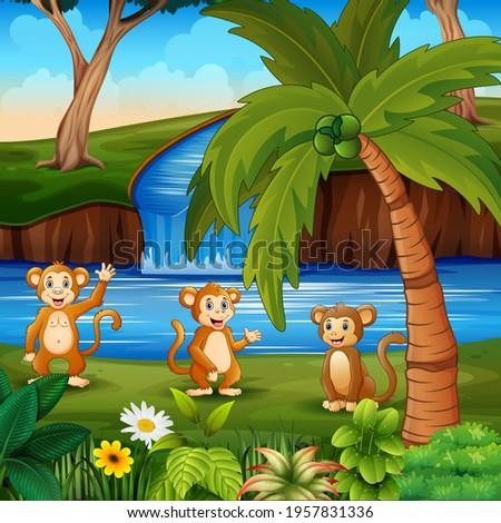 cartoon three of monkeys by the
