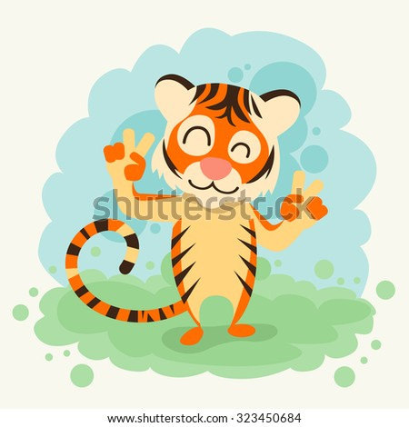cartoon tiger smile show two