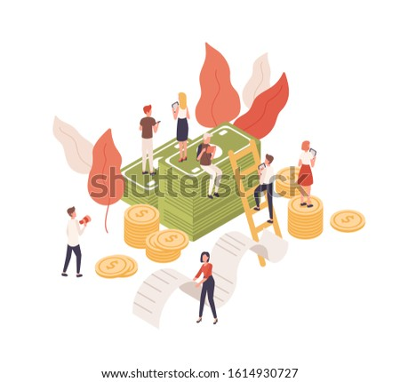 Cartoon tiny people working tablet for budget planning isometric vector illustration. Character sitting on cash money, carrying receipt isolated on white background. Concept financial administration.