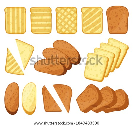 Cartoon toasts. Breakfast toasted bread, slices of bake roll, pastry wheat bakery products. Bread loaf and toasts isolated vector illustration set. Whole grain bread for sandwiches Stockfoto ©