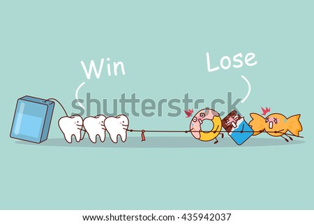 cartoon tooth and floss linear