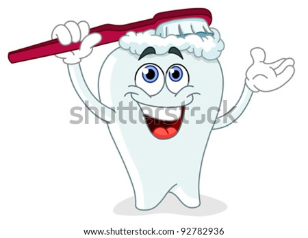 Cartoon tooth brushing itself