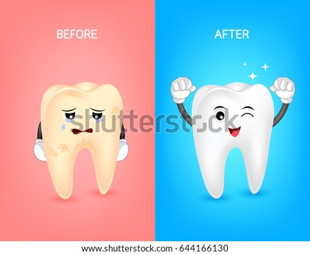 cartoon tooth character before