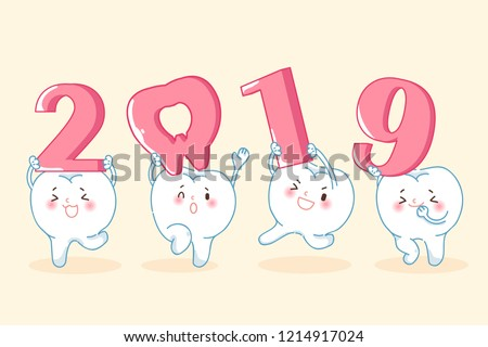cartoon tooth hold 2019 on the yellow background