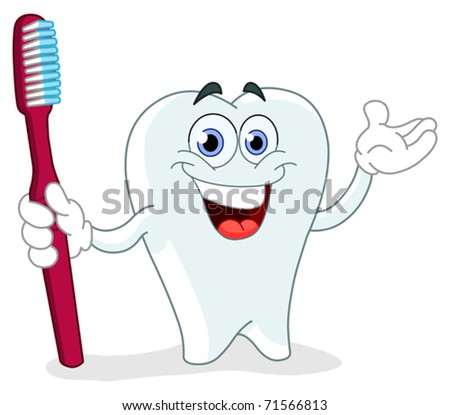 Cartoon tooth holding a toothbrush - stock vector