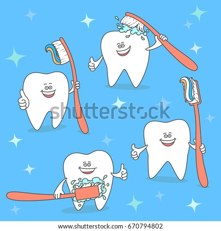 Cartoon tooth with toothbrush. Set of teeth keeping a brush. Dentistry illustration. Dental care and hygiene icon.