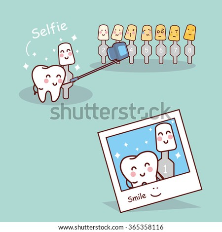 cartoon tooth with whitening
