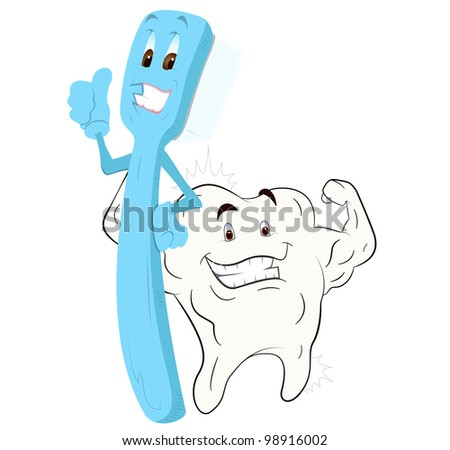 Cartoon Toothbrush and Healthy Tooth