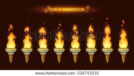 Cartoon torch animation. Fire sprites set.