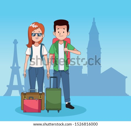 cartoon tourists with travel suitcases over blue background, colorful design. vector illustration