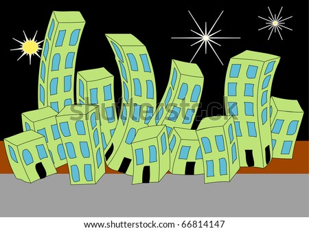 new york skyline cartoon. Cartoon Town Night Skyline
