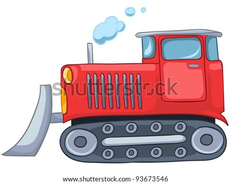 Cartoon Tractor Isolated on White Background. Vector.