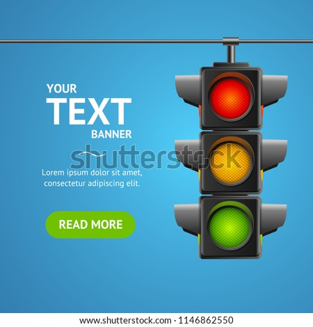Cartoon Traffic Light Banner Card Business Concept Place for Text Element Flat Design Style. Vector illustration of Stoplight