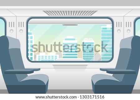 cartoon train inside interior
