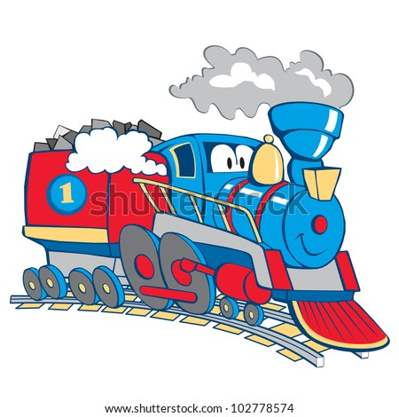 cartoon train isolated on the white background, vector, illustration