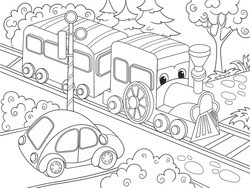 Cartoon train train and car coloring book for children vector illustration. Black and white