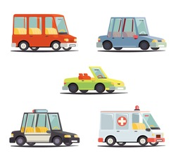 Cartoon Transport Car Vehicle Icon Design Stylish Retro Flat Vector Illustration