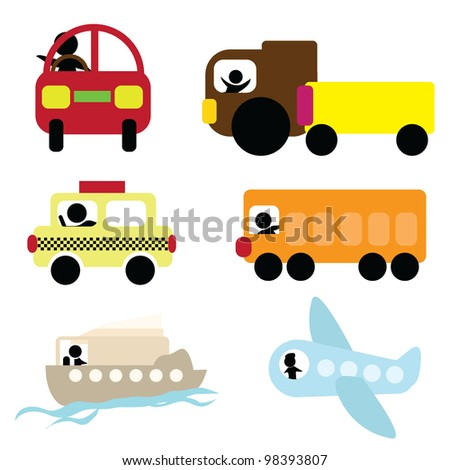 cartoon transport for travel, transportation icons