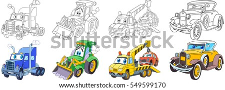 Cartoon transport set. Collection of vehicles. Heavy trailer (lorry), tractor (bulldozer), tow truck (evacuator), luxury retro old car. Coloring book pages for kids.