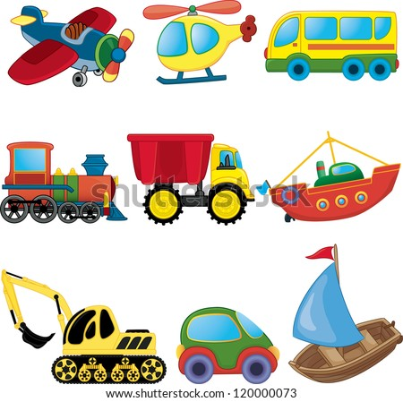 cartoon transport vector set