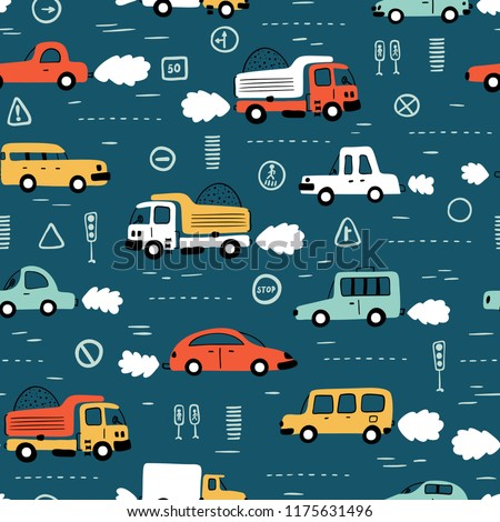 Cartoon Transportation Background for Kids. Vector Seamless Pattern with doodle Toy Cars and Traffic signs