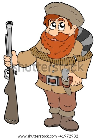 Cartoon trapper on white background - vector illustration.