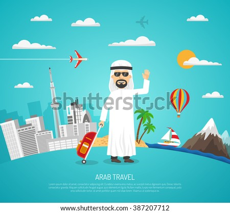 cartoon travel poster with arab