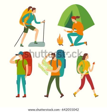 Cartoon travelers set with large backpacks. People hiking. Backpacker illustration