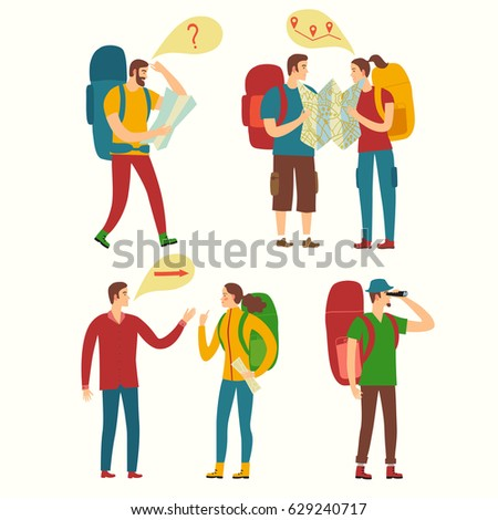 Cartoon travelers set with maps and large backpacks. People navigate. Backpacker illustration