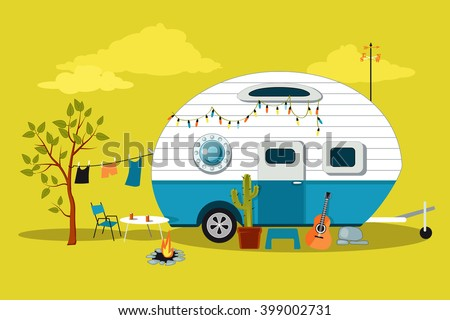 stock vector cartoon traveling scene with a vintage camper a fire pit camping table and laundry line eps 399002731 - Каталог — Фотообои «Для детской»