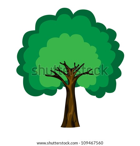 Tree Cartoon Background Cartoon Tree Isolated on White