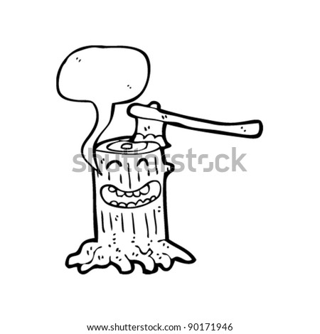 cartoon tree stump with axe in