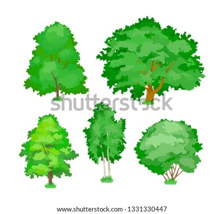 cartoon trees cute woody