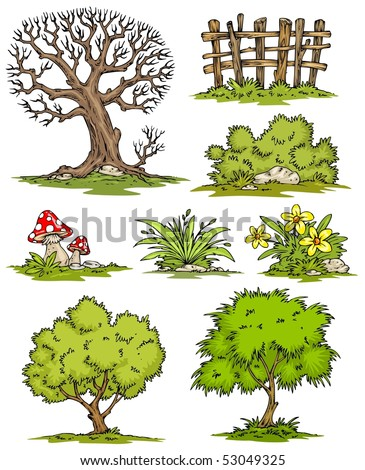 Flower Picture Color on Cartoon Trees Flowers Bushes Clip Art Color Stock Vector 53049325