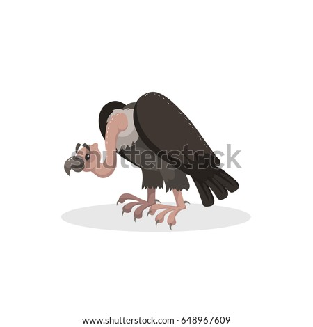 Cartoon trendy design comic vulture. American animal. Wildlife and zoo vector illustration icon.