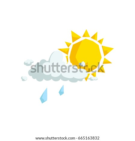 Cartoon trendy design fluffy clouds with light rain and sun  icon. Summer and weather vector symbol.