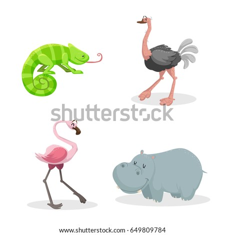 Cartoon trendy style african animals set. Chameleon with big tonque, ostrich, flamingo and hippo. Closed eyes and cheerful mascots. Vector wildlife illustrations.