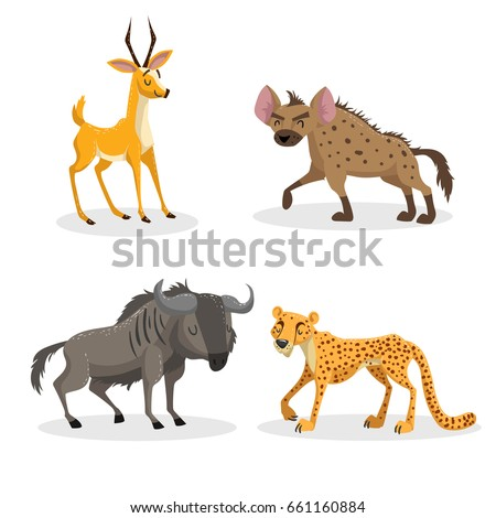 Cartoon trendy style african animals set. Hyena, wildebeest, cheetah and antelope gazelle. Closed eyes and cheerful mascots. Vector wildlife illustrations.