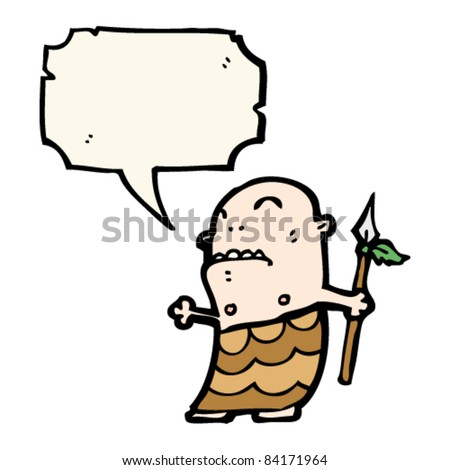 stock vector cartoon tribal man with spear