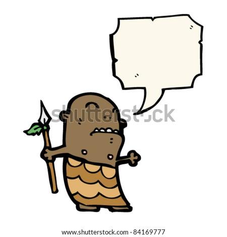 stock vector cartoon tribal man with speech bubble