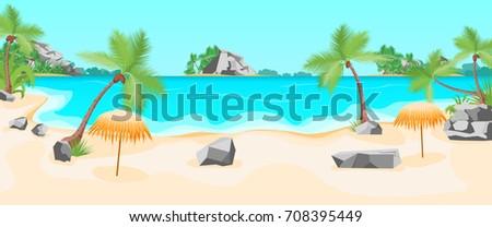 cartoon tropical beach summer