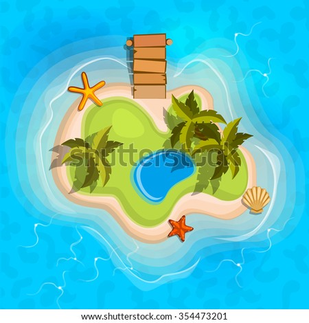 cartoon tropical exotic island