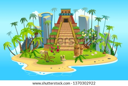 Cartoon tropical island with a pyramid of maya. Vector illustration for games.