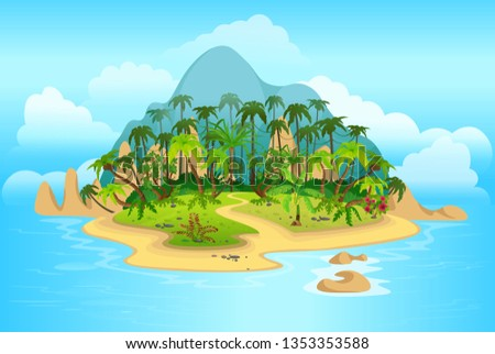 cartoon tropical island with