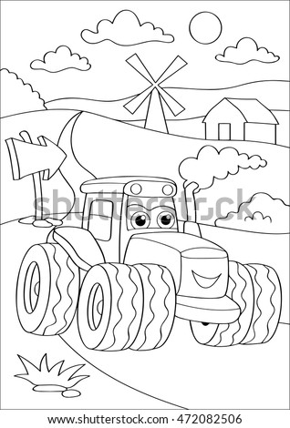 Cartoon truck car in village, coloring page. Coloring book outdoor sport theme. Funny motor lorry isolated on white background. Vector illustration for children education.