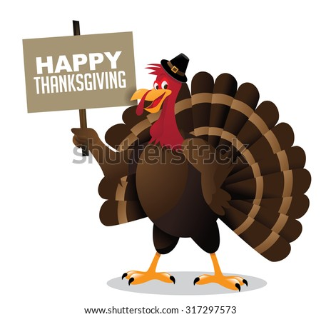 Cartoon turkey holding happy Thanksgiving sign. EPS 10 vector, grouped for easy editing.