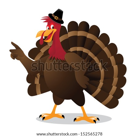 Cartoon turkey points at your message. EPS 10 vector, grouped for easy editing. No open shapes or paths.