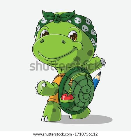 cartoon turtle goes to school