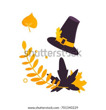 cartoon two color pilgrim hat